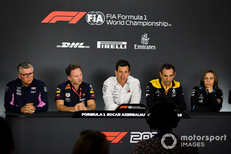 Otmar Szafnauer, Racing Point, Christian Horner, Red Bull Racing, Toto Wolff, Mercedes AMG, Cyril Abiteboul, Renault F1 Team y Claire Williams, Williams Racing.