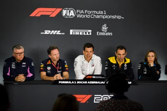 Otmar Szafnauer, Team Principal and CEO, Racing Point, Christian Horner, Team Principal, Red Bull Racing, Toto Wolff, Executive Director (Business), Mercedes AMG, Cyril Abiteboul, Managing Director, Renault F1 Team, and Claire Williams, Deputy Team Principal, Williams Racing, in the Team Principals Press Conference