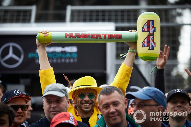 A Hummertime hammer in support of Lewis Hamilton, Mercedes AMG F1