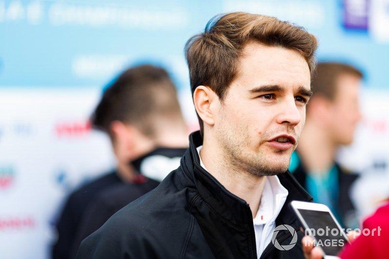 Tom Dillmann, NIO Formula E Team, talks to the press