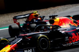 Max Verstappen, Red Bull Racing RB15,leads Pierre Gasly, Red Bull Racing RB15