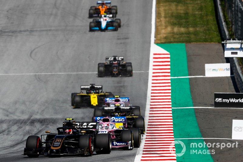 Kevin Magnussen, Haas F1 Team VF-19, Sergio Perez, Racing Point RP19, Nico Hulkenberg, Renault F1 Team R.S. 19, Lance Stroll, Racing Point RP19, Daniel Ricciardo, Renault F1 Team R.S.19