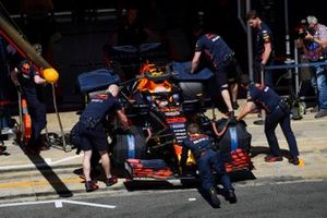 Max Verstappen, Red Bull Racing RB15, is returned to the garage