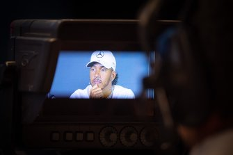 Lewis Hamilton, Mercedes AMG F1, is filmed in a press conference
