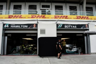 The Mercedes AMG F1 team's pit garages