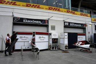 The Alfa Romeo Racing team's pit area
