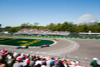 Nicholas Latifi, Williams FW42, leads Sergio Perez, Racing Point RP19