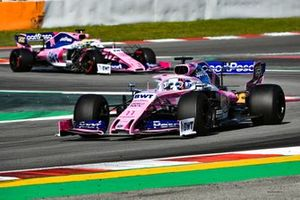 Sergio Perez, Racing Point RP19, leads Nick Yelloly, Racing Point RP19