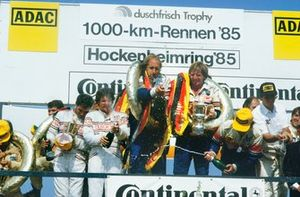 Derek Bell, Hans-Joachim Stuck, Porsche 962C, 1st position, podium