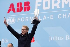 Sylvain Filippi, Managing Director & CTO, Virgin Racing, celebrates victory on the podium