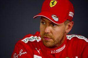 Sebastian Vettel, Ferrari, in the post Qualifying Press Conference
