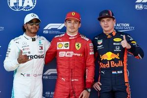 Le top 3 des qualifications : Lewis Hamilton, Mercedes AMG F1, le poleman Charles Leclerc, Ferrari, et Max Verstappen, Red Bull Racing