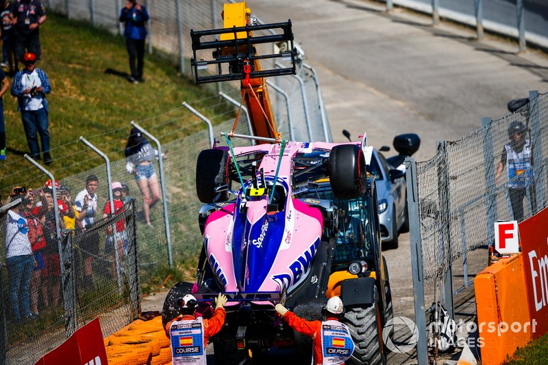 Coche de Lance Stroll, Racing Point RP19, tras su accidente