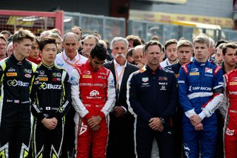 Logan Sargeant, Carlin Buzz Racing, Teppei Natori, Carlin Buzz Racing, Jehan Daruvala, PREMA Racing, Christian Horner, Team Principal, Red Bull Racing and Chase Carey, Chairman, Formula 1 at the memorial of Anthoine Hubert