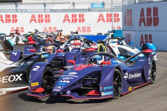 Sam Bird, Envision Virgin Racing, Audi e-tron FE05 Robin Frijns, Envision Virgin Racing, Audi e-tron FE05, Maximillian Gunther, GEOX Dragon Racing, Penske EV-3