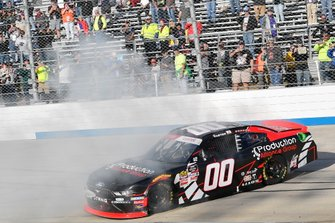 Cole Custer, Stewart-Haas Racing, Ford Mustang Production Alliance Group, celebrates after winning.