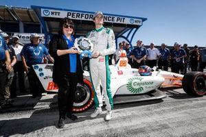 NTT P1 Award winner Colton Herta, Harding Steinbrenner Racing Honda celebrates his pole win with Margo Cooke of NTT