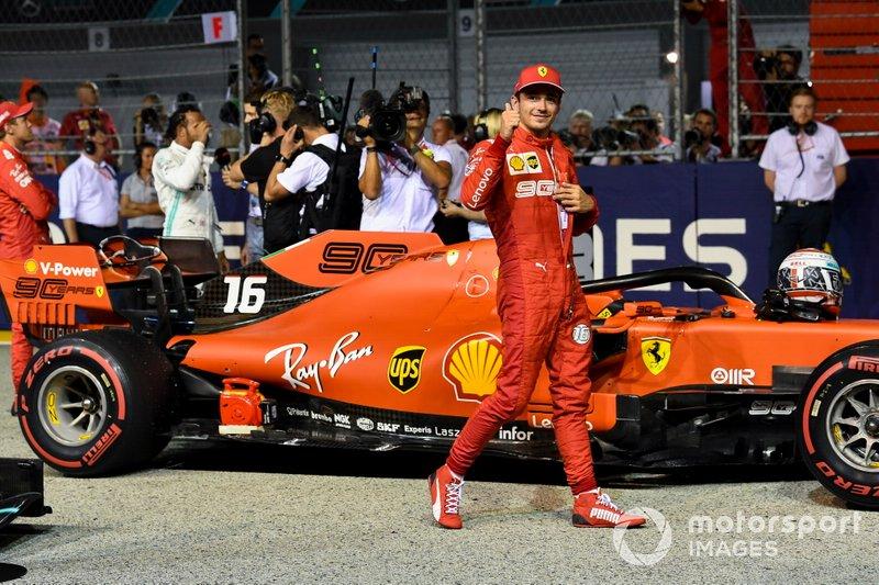 Charles Leclerc, Ferrari, celebrates taking pole