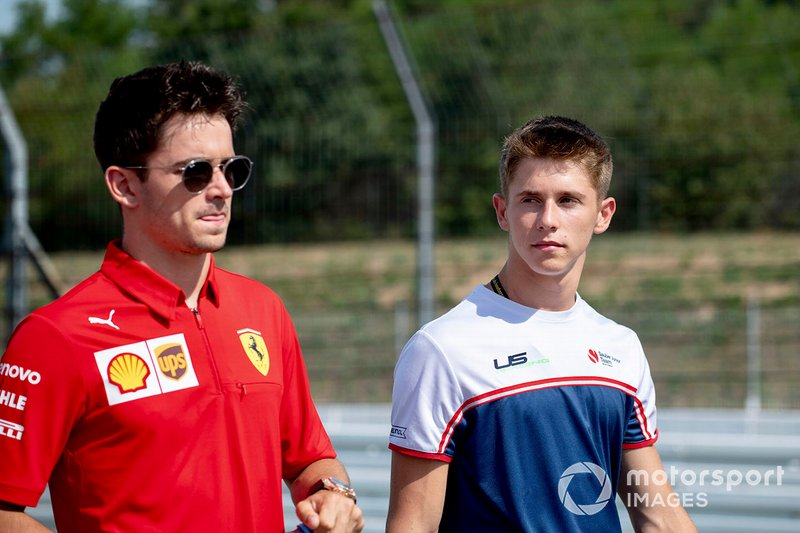 Arthur Leclerc walks the track with his brother Charles Leclerc, Ferrari