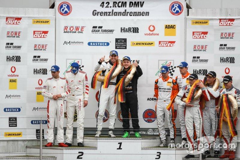 Podium: Winner #6 BLACK FALCON Mercedes-AMG GT3: Patrick Assenheimer, Manuel Metzger, second place #4 Phoenix Racing Audi R8 LMS GT3: Pierre Kaffer, Frank Stippler, third place Team GetSpeed Performance Mercedes-AMG GT3: Philip Ellis, Marek Böckmann, Dominik Baumann