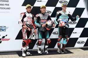 Polesitter Ayumu Sasaki, SIC Racing Team, second place Kaito Toba, Honda Team Asia, third place Marcos Ramirez, Leopard Racing