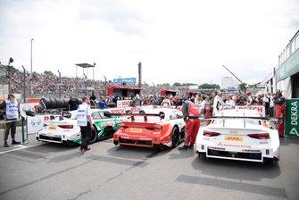 Nico Müller, Audi Sport Team Abt Sportsline, Audi RS 5 DTM, René Rast, Audi Sport Team Rosberg, Audi RS 5 DTM, Jamie Green, Audi Sport Team Rosberg, Audi RS 5 DTM nel parco chiuso