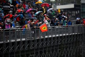Fans getting wet in a grandstand