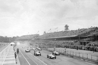 Jean Behra, Maserati 250F, Stirling Moss and Tony Brooks, Vanwall