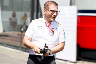 Andreas Seidl, Team Principal, McLaren, takes part in an RC car race