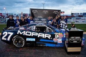 Andrew Ranger celebrates winning the Luxxur 300 at Edmonton International Raceway with his crew Saturday night