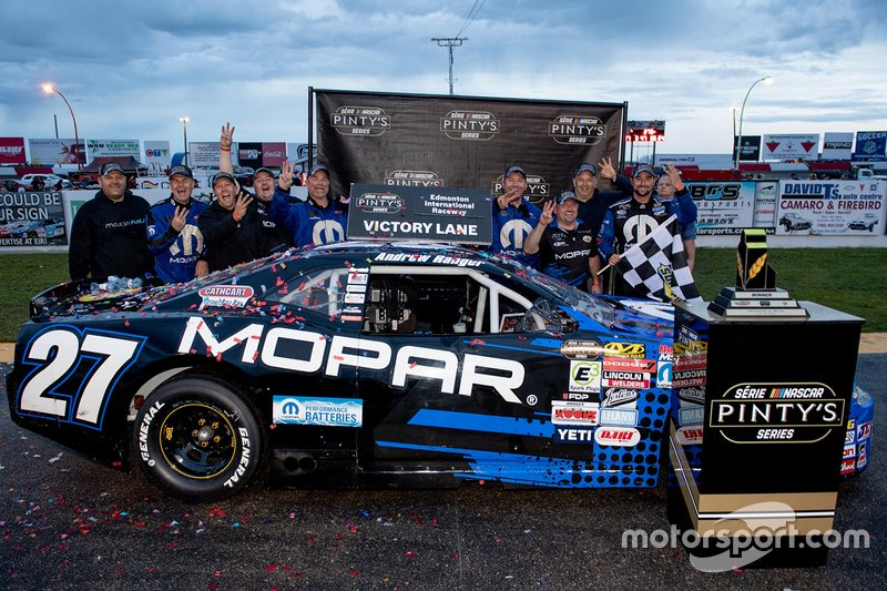 Andrew Ranger celebrates winning the Luxxur 300 at Edmonton International Raceway with his crew Saturday night