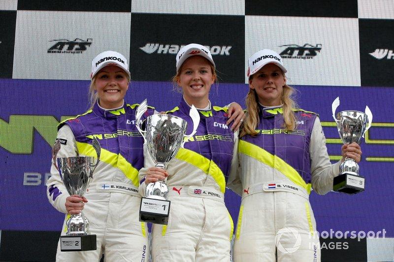 Podio: Ganadora Alice Powell, segunda Emma Kimilainen, tercera Beitske Visser