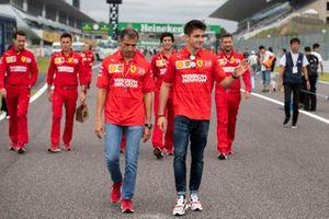 Charles Leclerc, Ferrari walks the track with Marc Gené