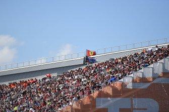 A Ferrari flag at the back of a grandstand
