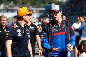 Max Verstappen, Red Bull Racing, en Daniil Kvyat, Toro Rosso