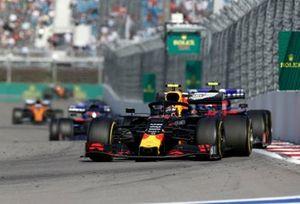 Alex Albon, Red Bull RB15, leads Pierre Gasly, Toro Rosso STR14