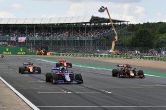 Alexander Albon, Toro Rosso STR14, Max Verstappen, Red Bull Racing RB15, Carlos Sainz Jr., McLaren MCL34, e Charles Leclerc, Ferrari SF90, provano la partenza alla fine della sessione