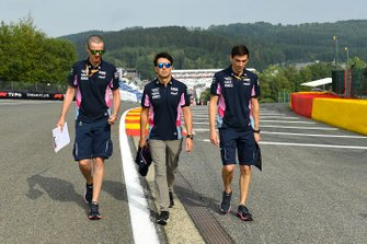 Sergio Perez, Racing Point, walks the track