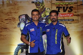 Aravind KP, Sherco TVS and B Selvaraj, team manager, TVS Racing