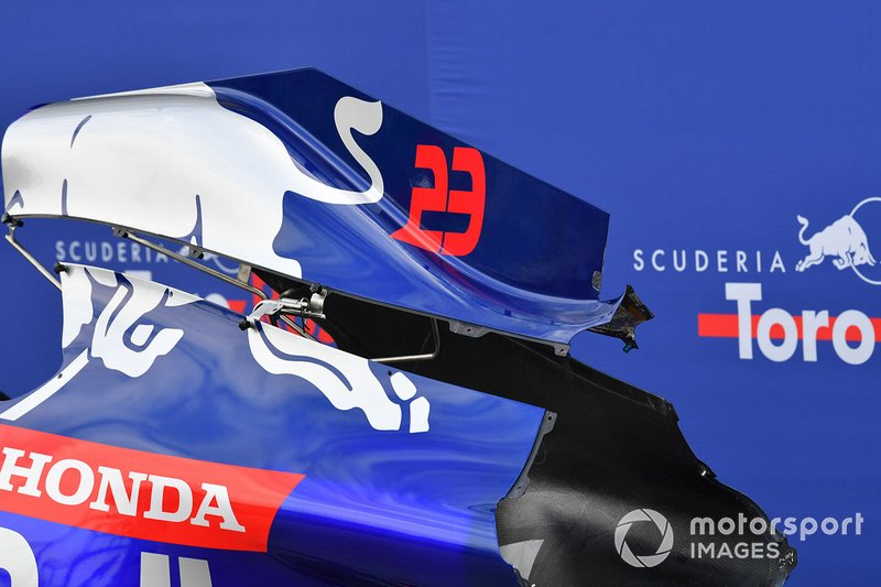 Alexander Albon's Scuderia Toro Rosso STR14 bodywork in the pit lane