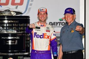 Denny Hamlin, Joe Gibbs Racing, Toyota Camry FedEx Express celebrates in victory lane, Joe Gibbs