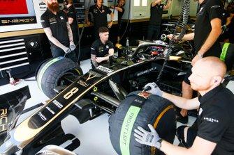 Romain Grosjean, Haas F1 Team VF-19, in the garage