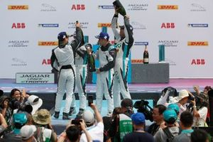 Bryan Sellers, Rahal Letterman Lanigan Racing, Yaqi Zhang, Team China, Cacá Bueno, Jaguar Brazil Racing, celebrate on the podium