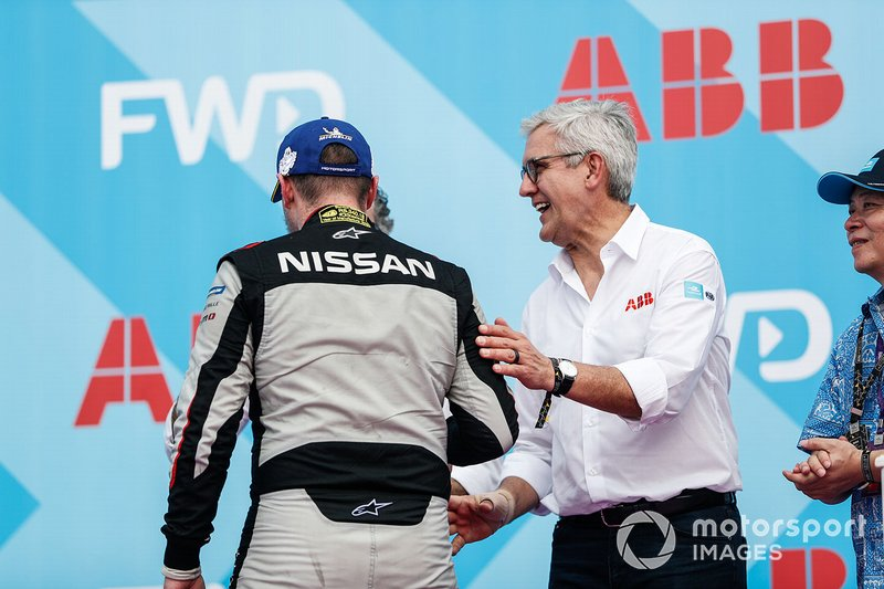 Oliver Rowland, Nissan e.Dams, on the podium