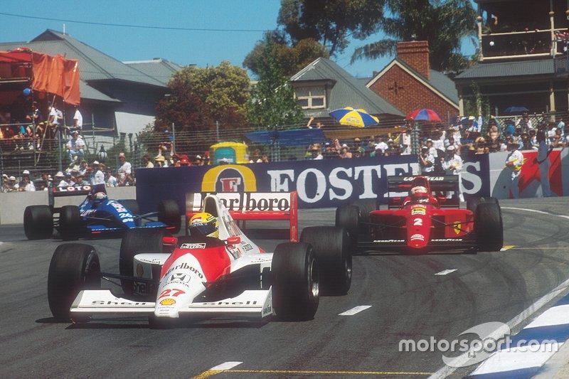 Ayrton Senna, McLaren; Nigel Mansell, Ferrari; Philippe Alliot, Ligier