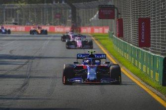 Alexander Albon, Toro Rosso STR14, leads Sergio Perez, Racing Point RP19