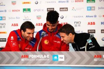 Jérome d'Ambrosio, Mahindra Racing en Pascal Wehrlein, Mahindra Racing, Antonio Felix da Costa, BMW I Andretti Motorsports in de persconferentie