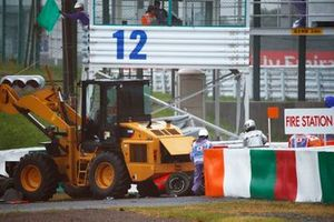 Jules Bianchi, Marussia MR03 Ferrari, crashes out of the race