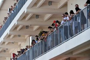 Fans spectate from balconies
