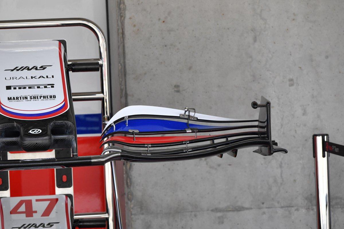 Detalle del alerón delantero del Haas VF-21